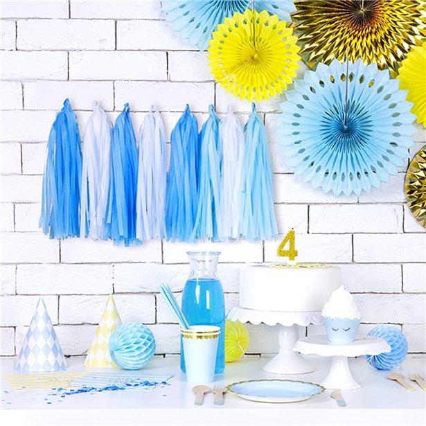 Guirnalda Decorativa con borlas en tonos azules - 1,5 m 2