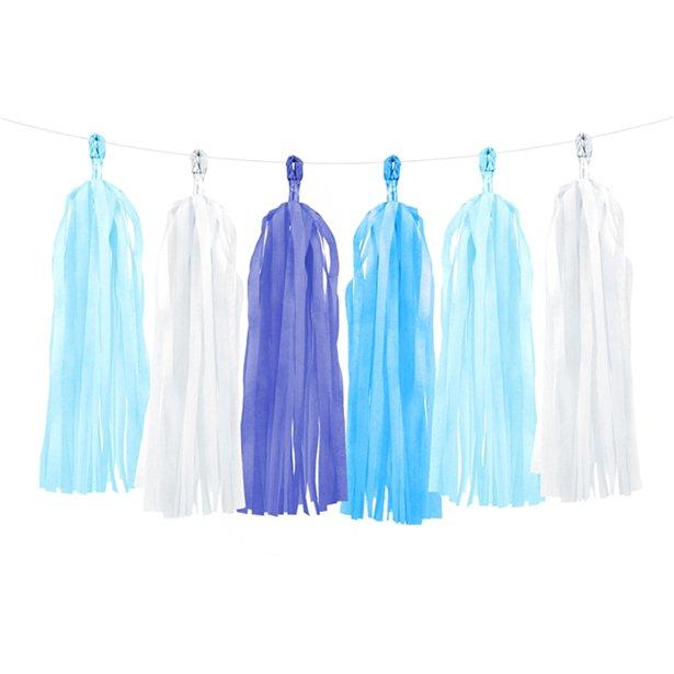 Guirnalda Decorativa con borlas en tonos azules - 1,5 m 1