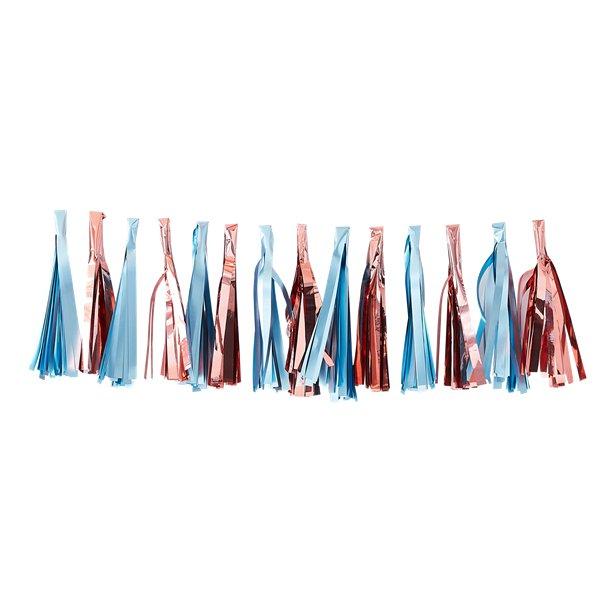 Guirnalda de borlas en azul y rosa dorado -  1,5 m 1