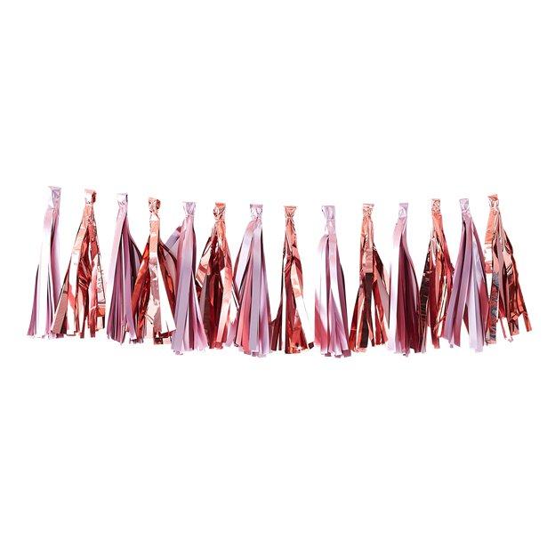 Guirnalda de borlas en rosa y rosa dorado - 1,5 m 1