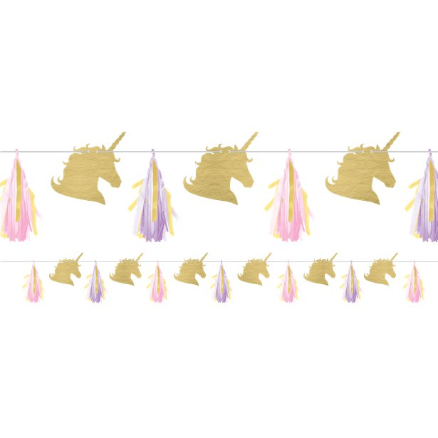 Guirnalda de papel de seda Unicornio Brillante - 2,4m 1