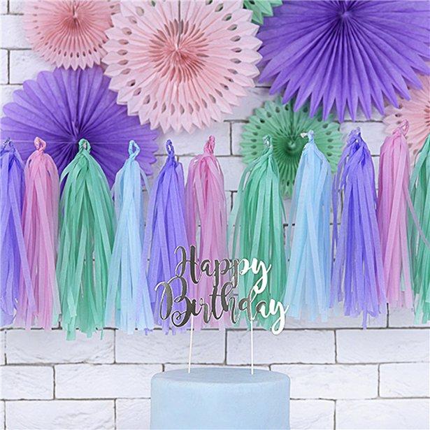 Guirnalda decorativa con borlas en tonos pastel - 1.5 m 2
