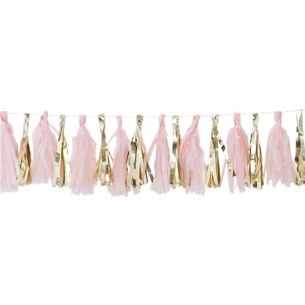 Guirnalda decorativa con borlas rosas y doradas - 2 m 1