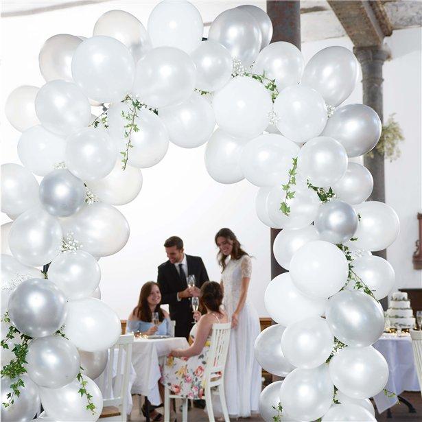 Arco de globos blanco y plata - 80 globos 2