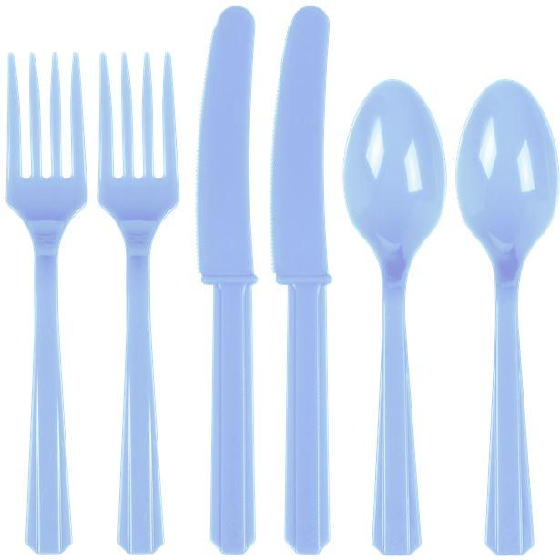 Cubiertos de plástico azul pastel (x24) 1