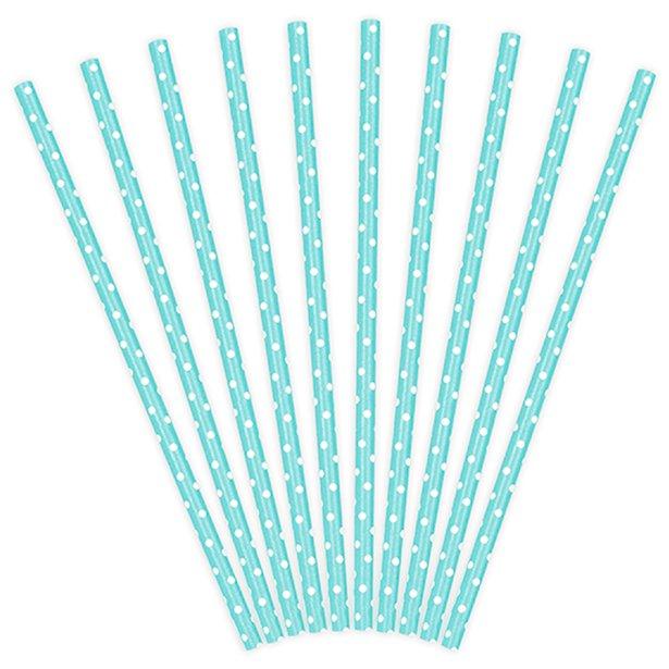 Pajitas de papel azul pastel con lunares (x10) 1