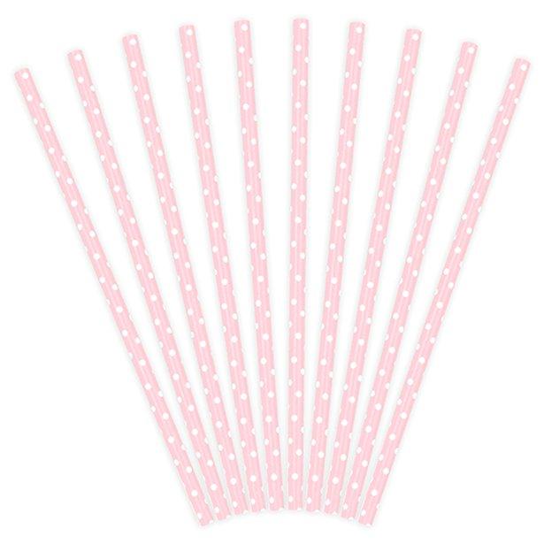 Pajitas de papel rosas con lunares (x10) 1