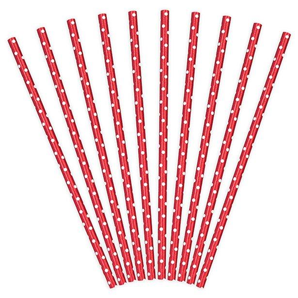 Pajitas de papel rojas con lunares (x10) 1